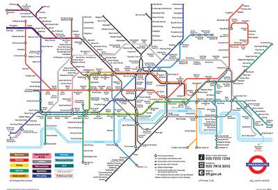 London, England Underground Map Vintage Style Travel Poster Masterprint
