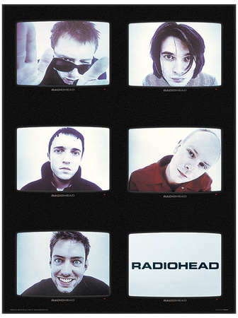 Radiohead collage TVs music poster of top rock bands