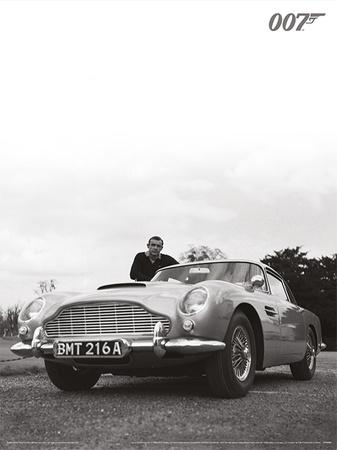 James Bond (Connery B+W) Movie Poster Print Masterprint