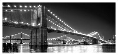 Brooklyn Bridge and Manhattan Bridge at Night Posters by Phil Maier