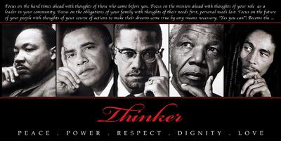 Thinker (Quintet): Peace, Power, Respect, Dignity, Love Plakater