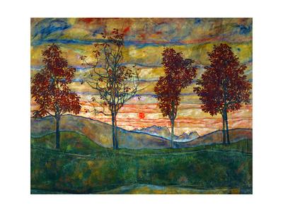 Four Trees, c.1917 Prints by Egon Schiele