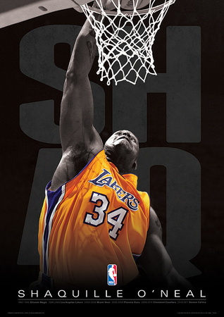 Shaquille dunking in the basketball net as L.A. Laker team member.