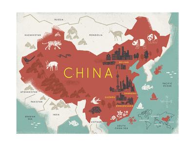 Map of China Giclee Print