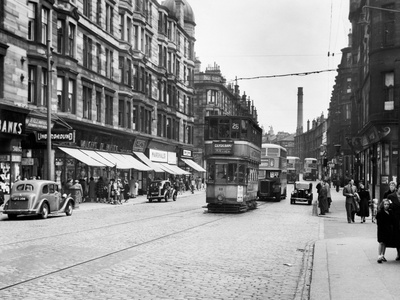 View Looking East Along Dumbarton Road to Partick Cross, 1955 Photographic Print