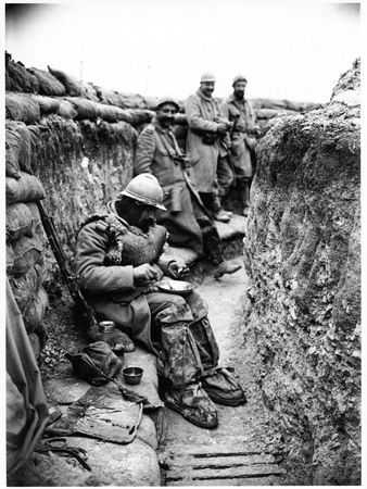 Soldier Eating in a Trench in the Champagne Region, 1916 Photographic Print by Jacques Moreau