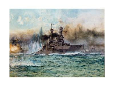 H.M.S Vanguard at the Battle of Jutland, 1924 Giclee Print by Charles Edward Dixon