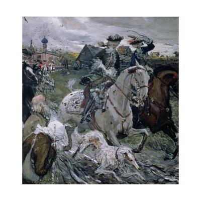 Peter II (1715-30) and the Tsarevna Elizabeth (1709-62) Hunting, 1900 Giclee Print by Valentin Aleksandrovich Serov