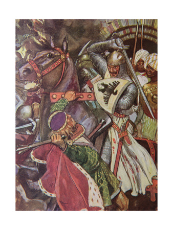 """""""Turn, False Hearted Templar!. Let Go Her Whom Thou Art Unworthy to Touch!."""", Illustration from… Giclee Print by Maurice Greiffenhagen"""