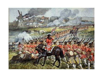 The 16th Regiment of Foot at Blenheim, 13th August 1704, c.1900 Giclee Print by Richard Simkin