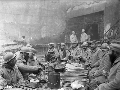 Troops Dining at the Chauffour Quarry, c.1916 Photographic Print by Jacques Moreau