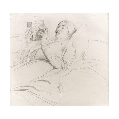 Portrait of Winifred Knights (1899-1947) Reading, c.1921 Giclee Print by Colin Unwin Gill