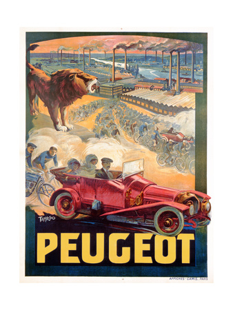 Advertisement for Peugeot, Printed by Affiches Camis, Paris, c.1922 Giclee Print by Francisco Tamagno