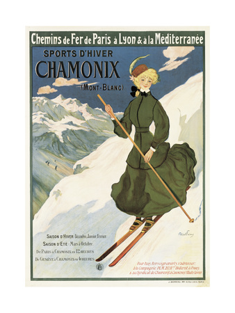 Poster Advertising Sncf Routes to Chamonix, 1910 Giclee Print by Francisco Tamagno