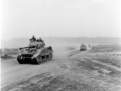 Tanks on the Move to Vire over the Tank Runs, c.1945 Photographic Print by  English Photographer