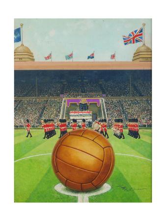 Wembley Stadium on Big Match Day Giclee Print by  English School