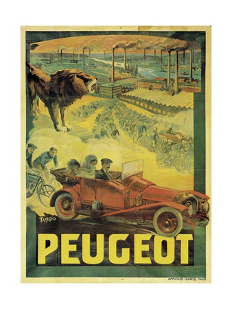 Poster Advertising Peugeot Cars, c.1908 Giclee Print by Francisco Tamagno