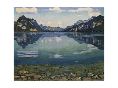 Thunersee with Reflection, 1904 Gicléetryck av Ferdinand Hodler