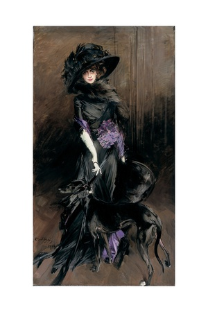 Portrait of the Marchesa Luisa Casati with a Greyhound, 1908 Giclee Print by Giovanni Boldini