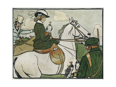Old English Sports and Games: Hawking, 1901 Giclee Print by Cecil Aldin