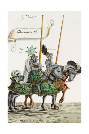 Two Knights in Jousting Armour (Gestech) and Armed with Lances, Illustration from a Facsimile… Giclee Print by Hans Burgkmair