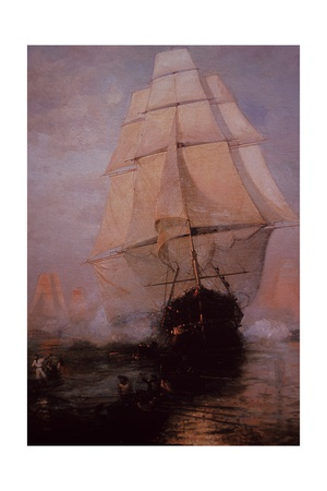 USS Constitution Escaping the British Giclee Print