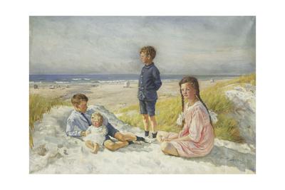 Erik, Else, Ove and Birthe Schultz on a Beach, 1919 Giclee Print by Gabriel Oluf Jensen