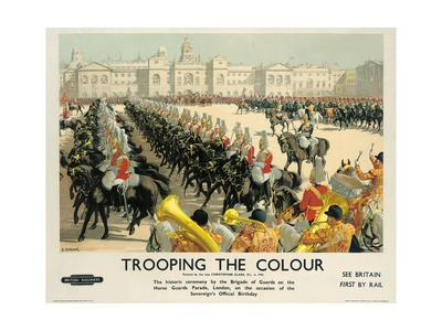 Trooping the Colour, Poster Advertising British Railways, c.1950 Giclee Print by Christopher Clark