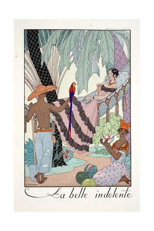 La Belle Indolente, from 'Falbalas and Fanfreluches, Almanach des Modes Présentes, Passées et… Giclee Print by Georges Barbier