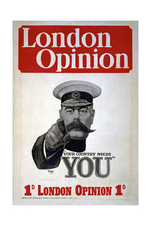 """""""Your Country Needs You"""", Poster for the London Opinion, 1914 Giclee Print by Alfred Leete"""