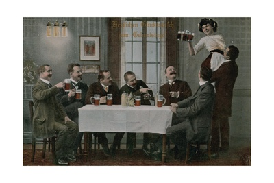 Postcard of Germans Drinking Beer and Having Fun with the Waitress, Sent in 1913 Giclee Print by  German photographer