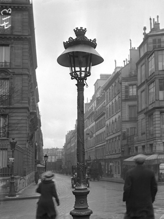 Street Lamp with a Lampshade, Paris, 1915 Photographic Print by Jacques Moreau