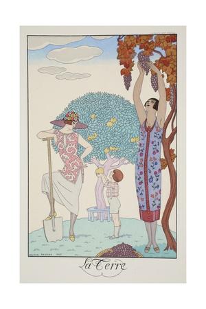 Earth, from 'Falbalas and Fanfreluches, Almanach des Modes Présentes, Passées et Futures', 1925 Giclee Print by Georges Barbier