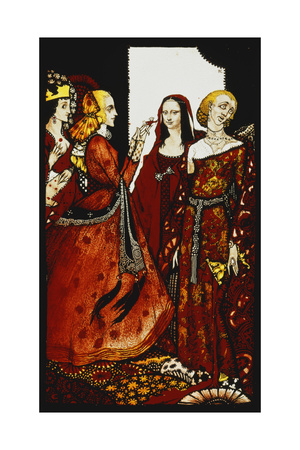 Queens Whose Finger Once Did Stir Men'. 'Queens', Nine Glass Panels Acided, Stained and Painted,… Giclee Print by Harry Clarke