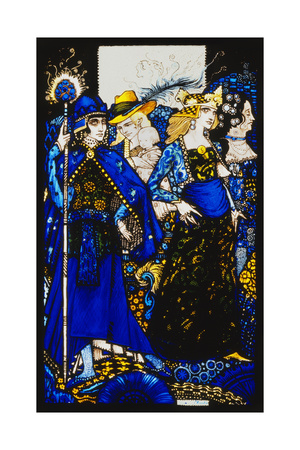 The Queens of Sheba, Meath and Connaught'. 'Queens', Nine Glass Panels Acided, Stained and… Giclee Print by Harry Clarke