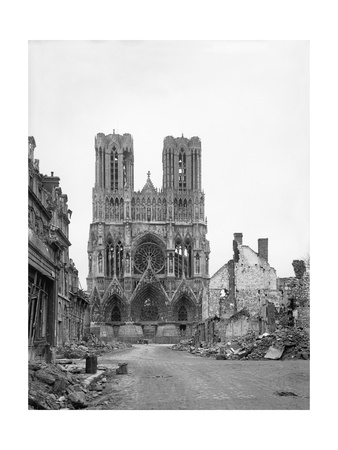 Reims Cathedral after the German Retreat, 1918 Photographic Print by Jacques Moreau