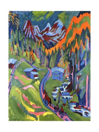 Sertig Path in Summer; Sertigweg Im Sommer, 1923 Giclee Print by Ernst Ludwig Kirchner