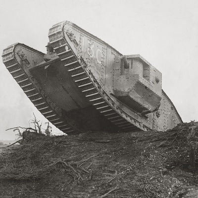 A Tank Leads the Infantry into Action and Breaks Down the Wire Entanglements Photographic Print by  English Photographer