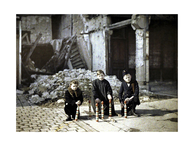 Three Children Playing with Bowling Pins at the Place Drouet d'Erlon, Reims, Marne, France, 1917 Giclee Print by Fernand Cuville