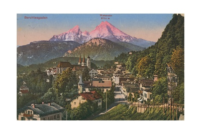 Watzmann Mountain in Berchtesgaden, Germany. Postcard Sent in 1913 Giclee Print by  German photographer