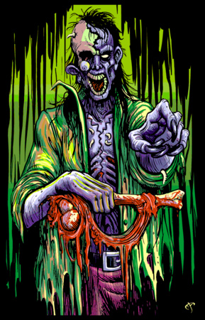 Zombie Stalker Flocked Blacklight Poster Prints