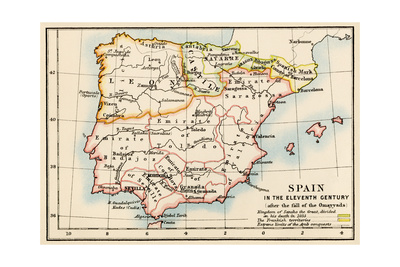 Map of the Iberian Peninsula Under the Moors, 11th Century Fotoprint