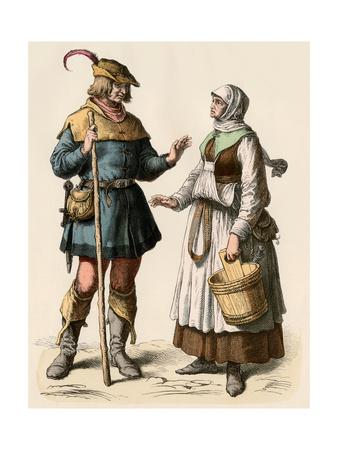 German Farmer and His Wife, 1500s Giclee Print