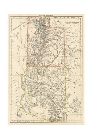 Map of Utah and Arizona Territories, 1870s Photographic Print