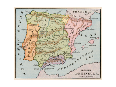 Map of the Iberian Peninsula in the 1400s Gicléetryck