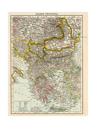 Map of the Balkan Peninsula, 1870s Giclee Print