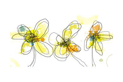 Three Yellow Flowers Art by Jan Weiss