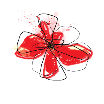 Red Liquid Floral Three Prints by Jan Weiss