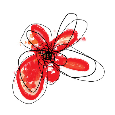 Red Liquid Floral One Poster by Jan Weiss