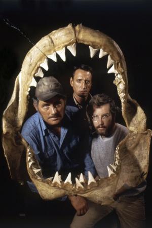 Jaws 1975 Directed by Steven Spielberg Robert Shaw, Roy Scheider and Richard Dreyfuss. Foto